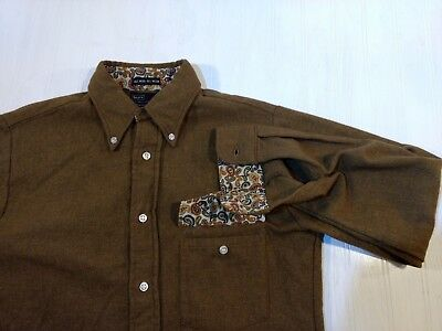 Vintage Sears Washable Wool Nylon Button Front Men Shirt Small Lined Cuff Collar