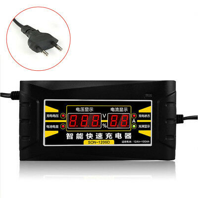12V 6A Smart Fast Lead-acid Battery Charger for Car Motorcycle LCD Display EU