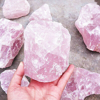 100g Large Natural Pink Quartz Crystal Stone Gemstone Row Mineral Specimen Decor
