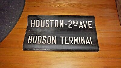 Vintage Nyc Subway Sign Ny Ind Collectible Roll Sign Hudson Terminal Houston Ny