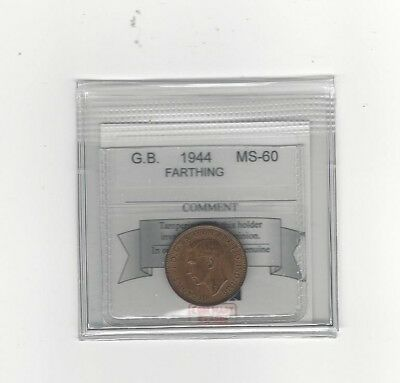 **1944**Great Britain, Farthing,  Coin Mart Graded**MS-60**