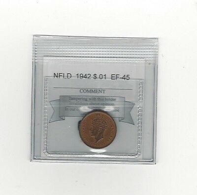 **1942**, Coin Mart Graded, Newfoundland  Small One Cent,**EF-45**