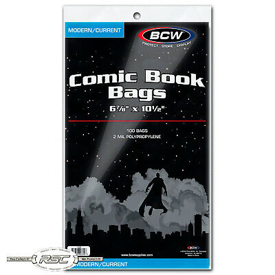 "100 - BCW Modern / Current 2-Mil Polypropylene Comic Book Bags 6-7/8"" x 10-1/2"""