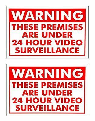 2 VIDEO SURVEILLANCE WARNING SECURITY SIGNs UNDER 24 HOUR CCTV SURVEILLANCE