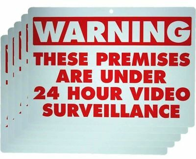 Set Of 5 Video Surveillance Signs Warning Security Signs Under 24 Hour Cctv