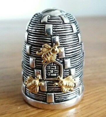 Lovely Art Deco 800 Solid Silver Novelty Beehive Pot With Gold Bees