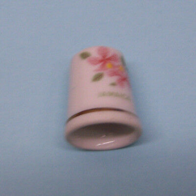Porcelain Jamaica with Floral Design Collector Thimble - VERY NICE!!!