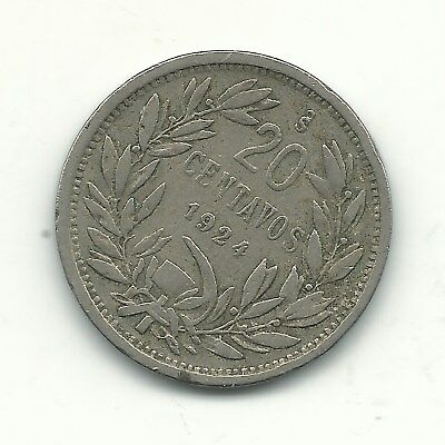 A Very Nice 1924 So Chile 20 Centavos Coin-Defiant Condor On Rock-Dec517
