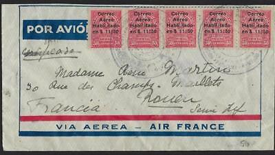 Paraguay 1936 France 1936 Registered First Flight Air Mail Cover To Paris