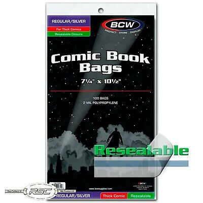 100 - BCW Regular / Silver Thick Resealable 2-Mil Polypropylene Comic Book Bags