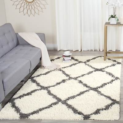 Safavieh Dallas Shag Ivory/ Dark Grey Trellis Rug (8' x 10')