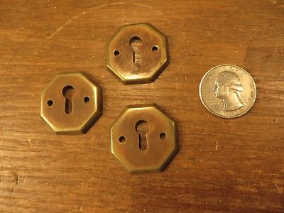Antique lot of 3 Cast Bronze / Brass Hexagon Key Hole Covers Escutcheons ENGLAND