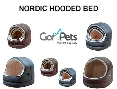 Gor Pets Nordic Hooded Cat Dog Pet Bed Igloo Cave Brown Grey Small Medium Large