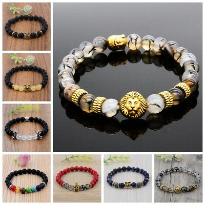 Charm Men Black Lava Stone Gold Silver Owl Helmet Buddha Beaded Fashion Bracelet