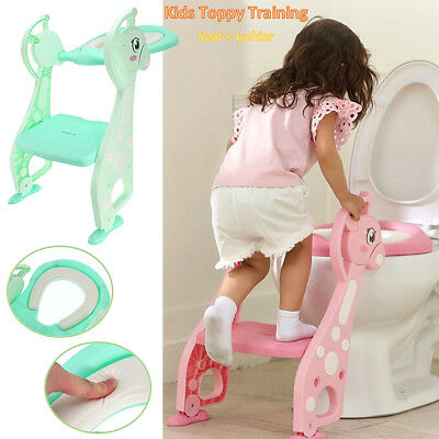 Folding Baby Kids Toilet Potty Trainer Seat Step Up Ladder Training Stool Chair