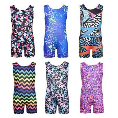 3-11Y Kids Girls Shiny Gymnastics Leotards Sport Training Ballet Dance Tank Suit