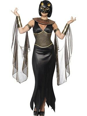 Ladies Sexy Bastet Egyptian Goddess Cat Halloween Fancy Dress Costume Outfit