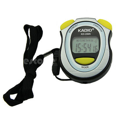 Digital Handheld LCD Sports Stopwatch Stop Watch Counter Timer Chronograph