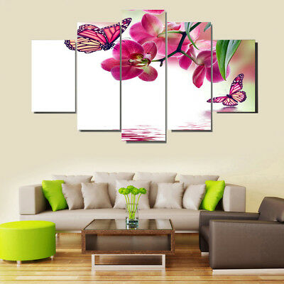 5 Panels Modern Canvas Wall Art Paintings Butterfly Print Living Room Decor