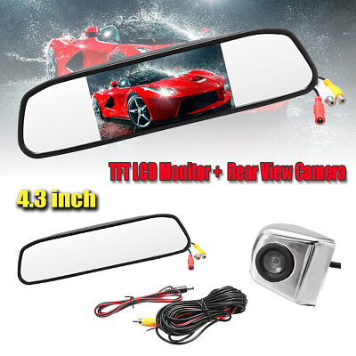 "4.3"" Car TFT LCD Monitor Mirror + HD CCD Reverse Rear View Backup Camera Kit NEW"