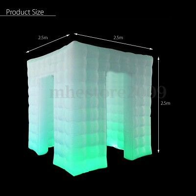 2 Door Inflatable LED Air Pump Light Photo Booth Tent Party Wedding 110V Cube US