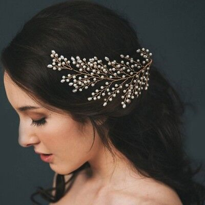 Wedding Bridal Tiara Headwear Bridesmaid Faux Pearl Leaves Hair Accessories Prom