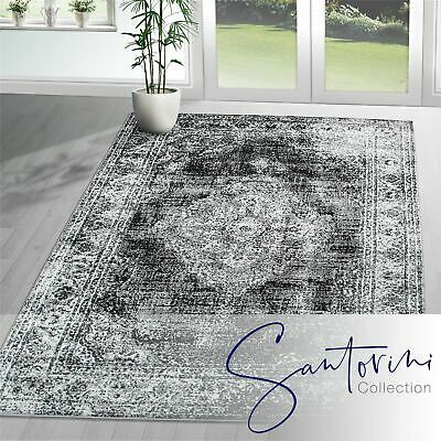Traditional Vintage Style Persian Rug Design Oriental Faded Black Area Carpet