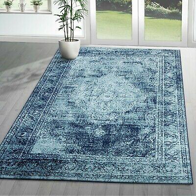 Traditional Vintage Style Persian Rug Design Oriental Faded Navy Blue Carpet