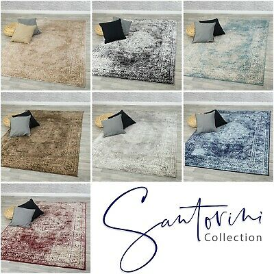 Santorini Traditional Vintage Style Persian Rug Design Oriental Faded Carpet