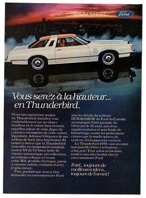 1978 FORD Thunderbird Vintage Original small Print AD - White car photo sunlight
