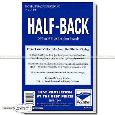 100 - Half-Back Standard 24pt Comic Book Backing Boards by E. Gerber - 700HB