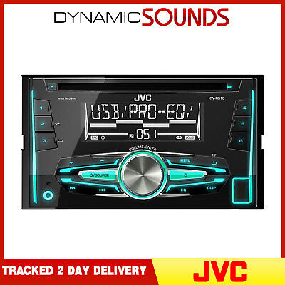 JVC KW-R510 Double Din Car Stereo Radio MP3 AUX USB Variable Colours