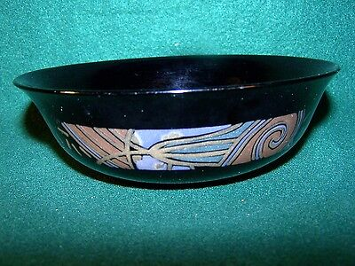 Arcoroc ~ Tampico ~ Black With Geometric Design ~ Soup / Cereal Bowl 6 1/4""