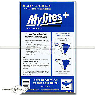 100 - Mylites+ Current 1.4-Mil Mylar Comic Book Bags by E. Gerber - 700M+