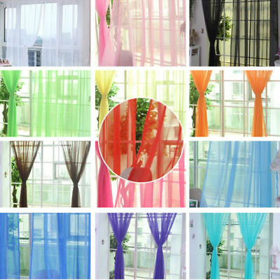 New Floral Tulle Voile Door Window Curtain Drape Panel Sheer Scarf Valances GIFT