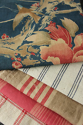 Antique Vintage French fabrics materials Project Bundle ~ blues + reds + pillow