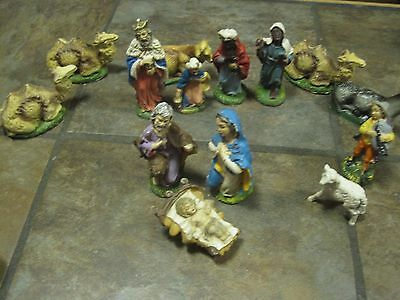 """Vintage Chalk Ware / Plaster Nativity Figures,  Italy, Approx.  4½"""", 14 Pcs."""
