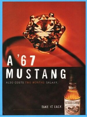 1997 Southern Comfort Whiskey Diamond Engagement Ring or 1967 Mustang Ad