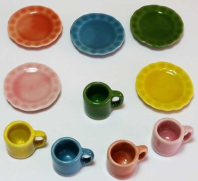 10-Piece Dollhouse Miniature Ceramic Set * Doll Mini Food Plates Cup Dishes c170