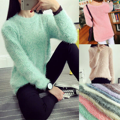 Women Winter Knit Sweater Casual Long Sleeve Mohair Blend Fuzzy Knitwear Jumper