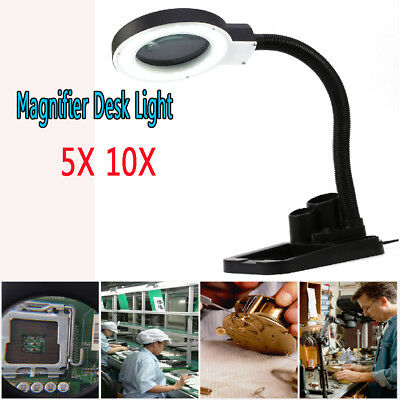 Magnifying DIY Crafts Glass Desk Lamp With 5X 10X Magnifier With 40 LED Lighting