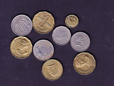 9 Uruguay Different Coins, Different Years