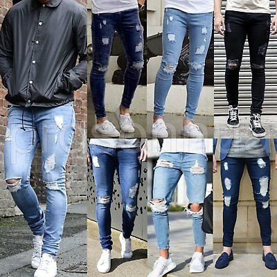 Men's Skinny Jeans Biker Destroyed Frayed Slim Fit Denim Ripped Pants Trousers
