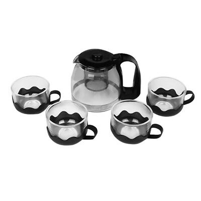 Heat Resistant Glass Teapot Cup Set with Infuser Coffee Tea Leaf Herbal Pot