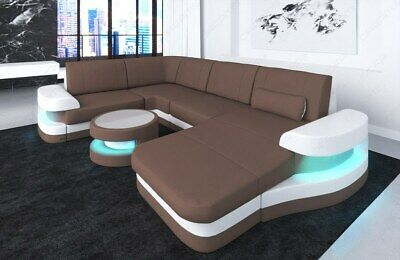 WOHNLANDSCHAFT STOFFSOFA MATERIALMIX MODENA U Form Design Couch LED ...