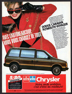 1986 DODGE Caravan PLYMOUTH Voyager Vintage Original Print AD - Woodie car large