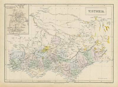 Victoria, Australia. Gold rush districts & Mount Alexander gold region 1856 map