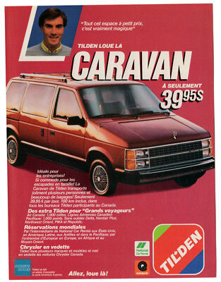 1986 DODGE Caravan Vintage Original Print AD - Tilden rent a car Mini Van canada