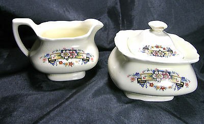 Vintage Sugar and Creamer W.S.George Canaryware Lido Numbered Gold Transferware