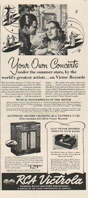 1939 RCA Victrola Automatic Changing Model U-123 Victor Record Player Print Ad